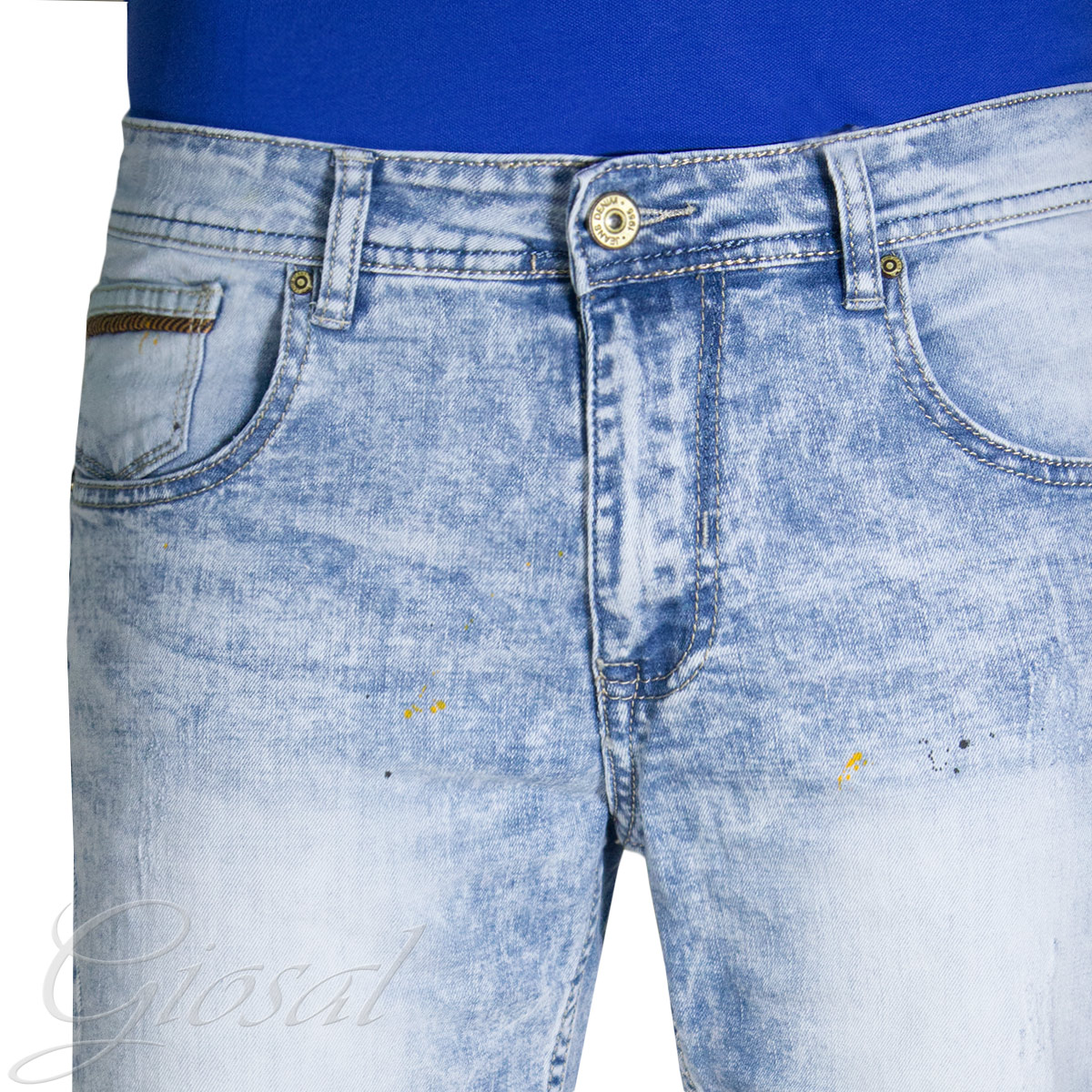 Pantalone-Uomo-Corto-Bermuda-Denim-Jeans-Macchie-Di-Pitture-Cinque-Tasche-GIOSAL miniatura 3