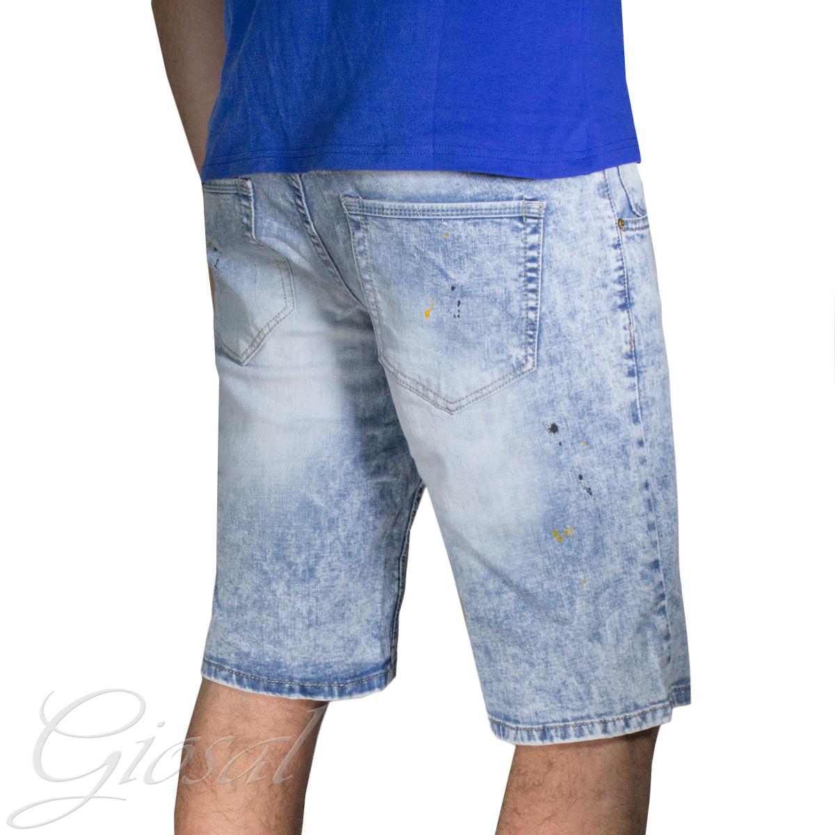 Pantalone-Uomo-Corto-Bermuda-Denim-Jeans-Macchie-Di-Pitture-Cinque-Tasche-GIOSAL miniatura 5