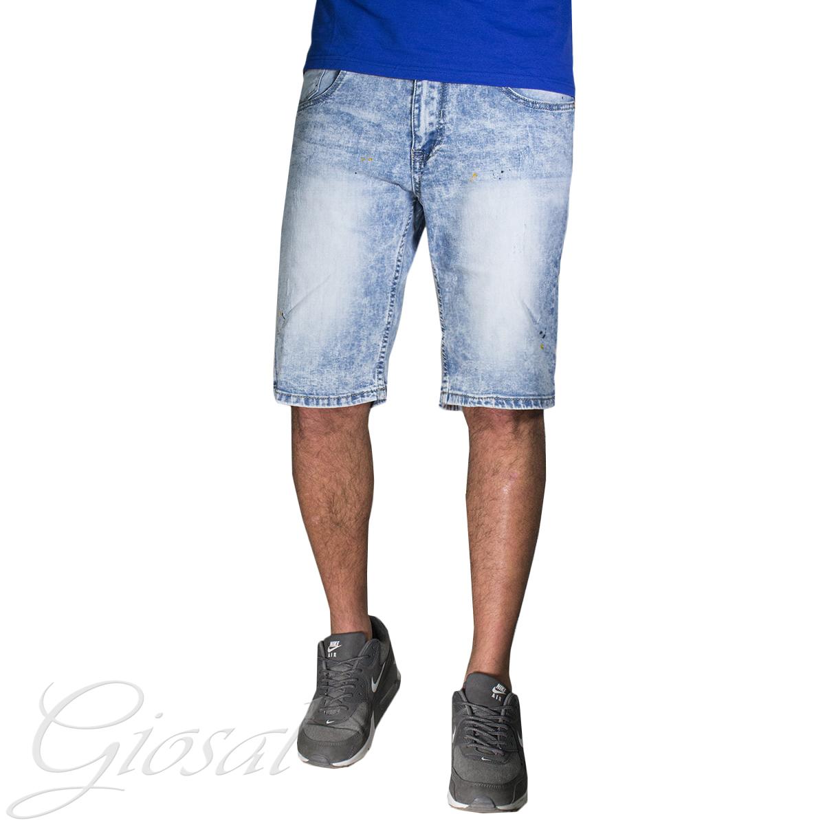 Pantalone-Uomo-Corto-Bermuda-Denim-Jeans-Macchie-Di-Pitture-Cinque-Tasche-GIOSAL