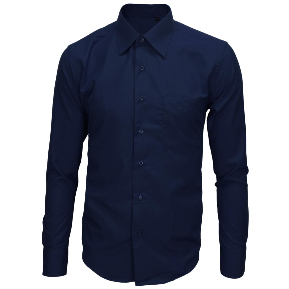 Camicia-Uomo-Classica-Tinta-Unita-Colletto-Taschino-Vari-Colori-GIOSAL miniatura 9