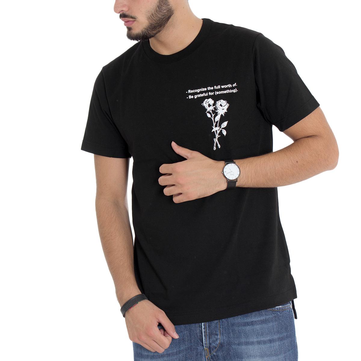 Acquista A Buon Mercato T-shirt Uomo Mod Stampa Fiore Girocollo Nera Giosal