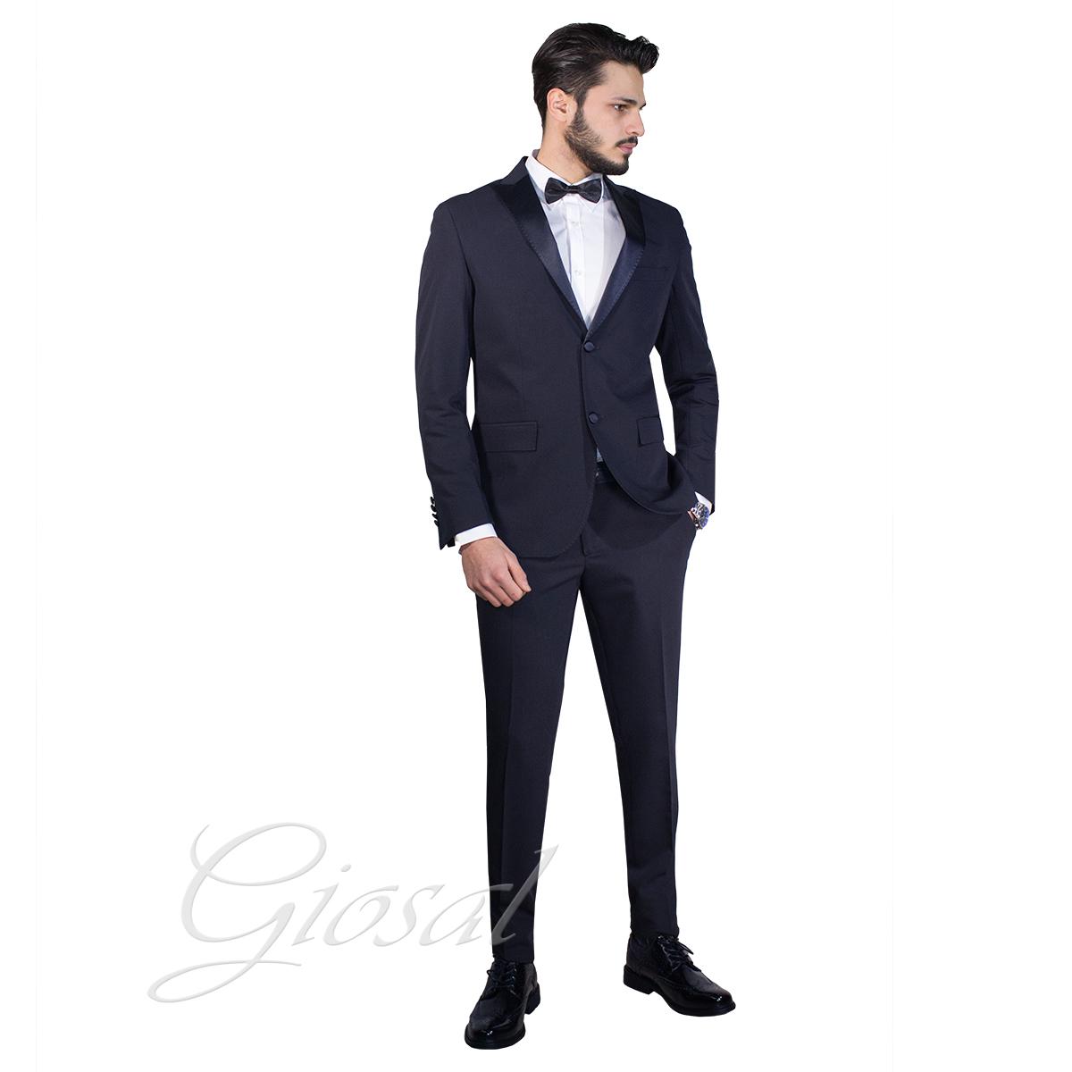 d3528e994cba Abito Elegante Uomo Vestito Giacca Pantalone Smoking Raso Bottoni Blu Suits  G... - AE1001A