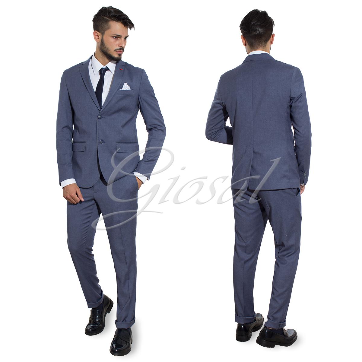 Abito Elegante Uomo Completo Giacca Pantalone Cravattino Bottoni Blu Royal  GI... - AE1009A 6d93b8695b78