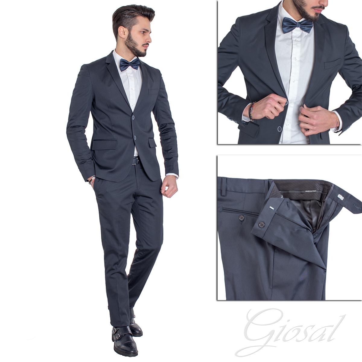 2a85696022aa Abito Elegante Uomo Vestito Giacca Pantalone Blu Tinta Unita GIOSAL -  AE1010A