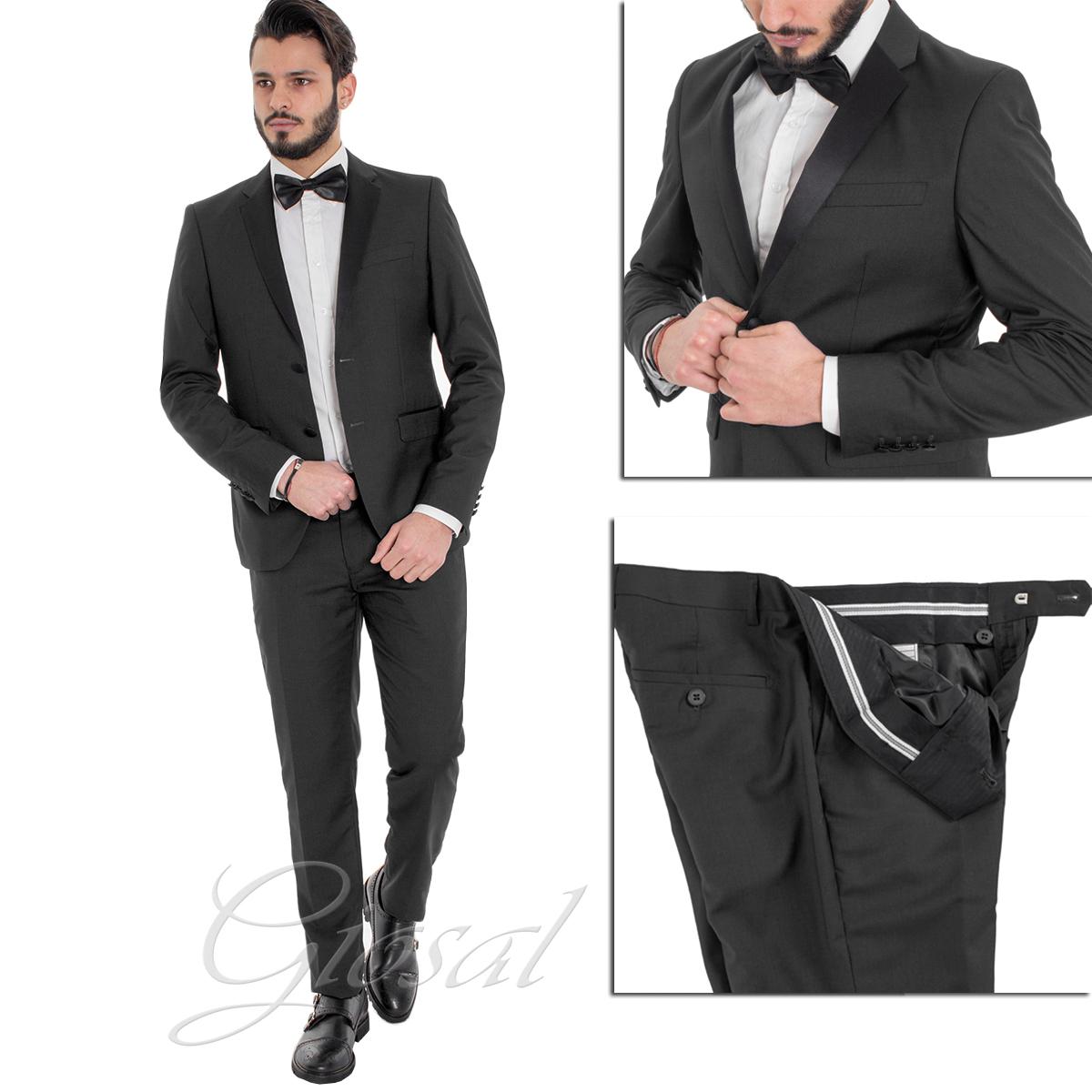 Abito Elegante Uomo Vestito Giacca Pantalone Blu Tinta Unita GIOSAL