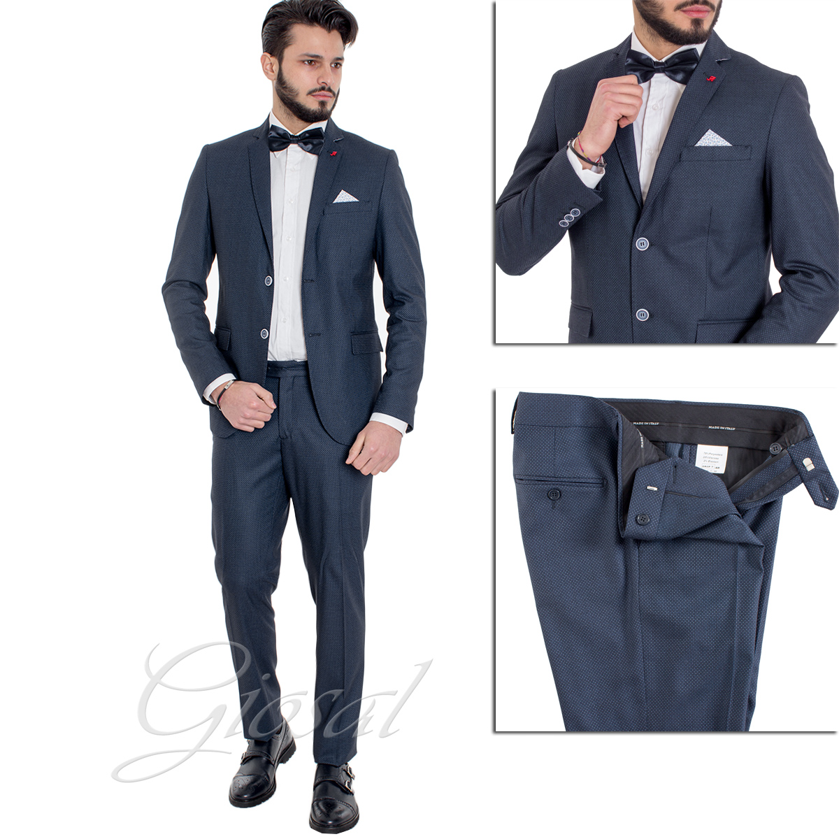 giacca elegante uomo blu notte a pois