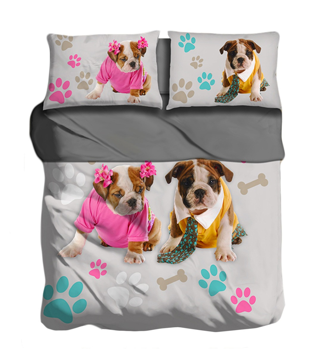 Lenzuola Matrimoniali Cani.Completo Lenzuola Bull Dog Matrimoniale Copriletto Stampa Digitale