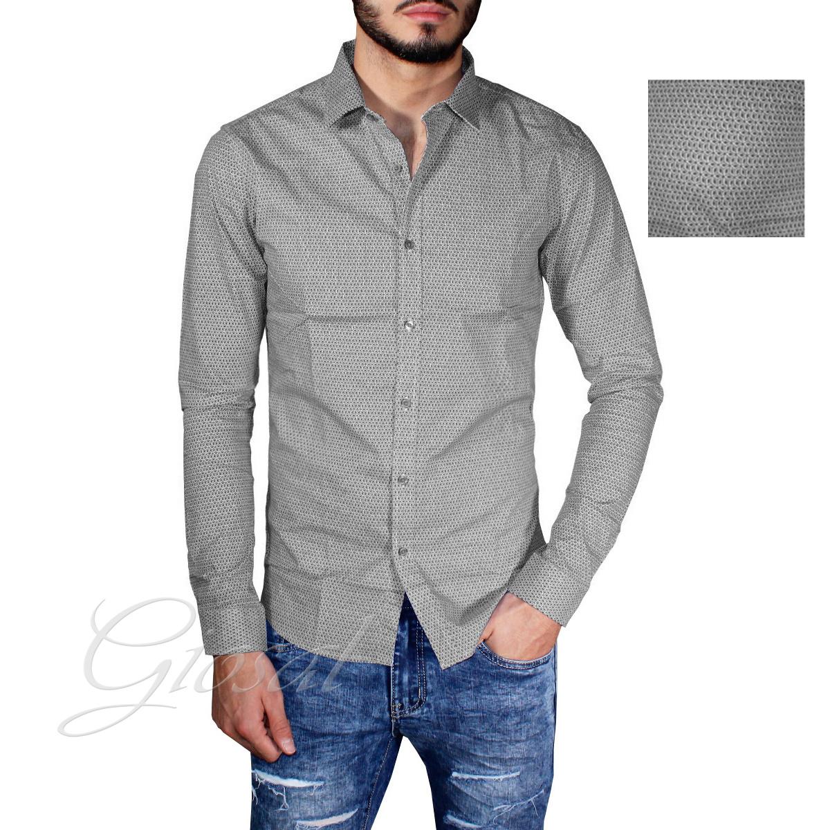 Camicia-Uomo-Casual-Slim-Bottoni-Microcubi-Colletto-Blu-Grigia-GIOSAL miniatura 7