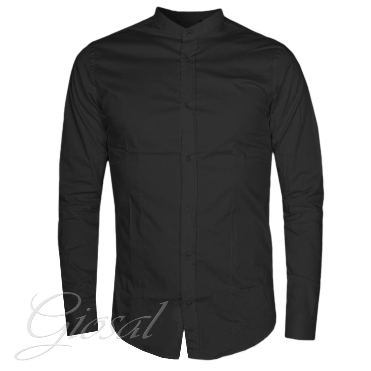 Camicia-Uomo-Akiro-Collo-Coreano-Nera-Tinta-Unita-Casual-GIOSAL
