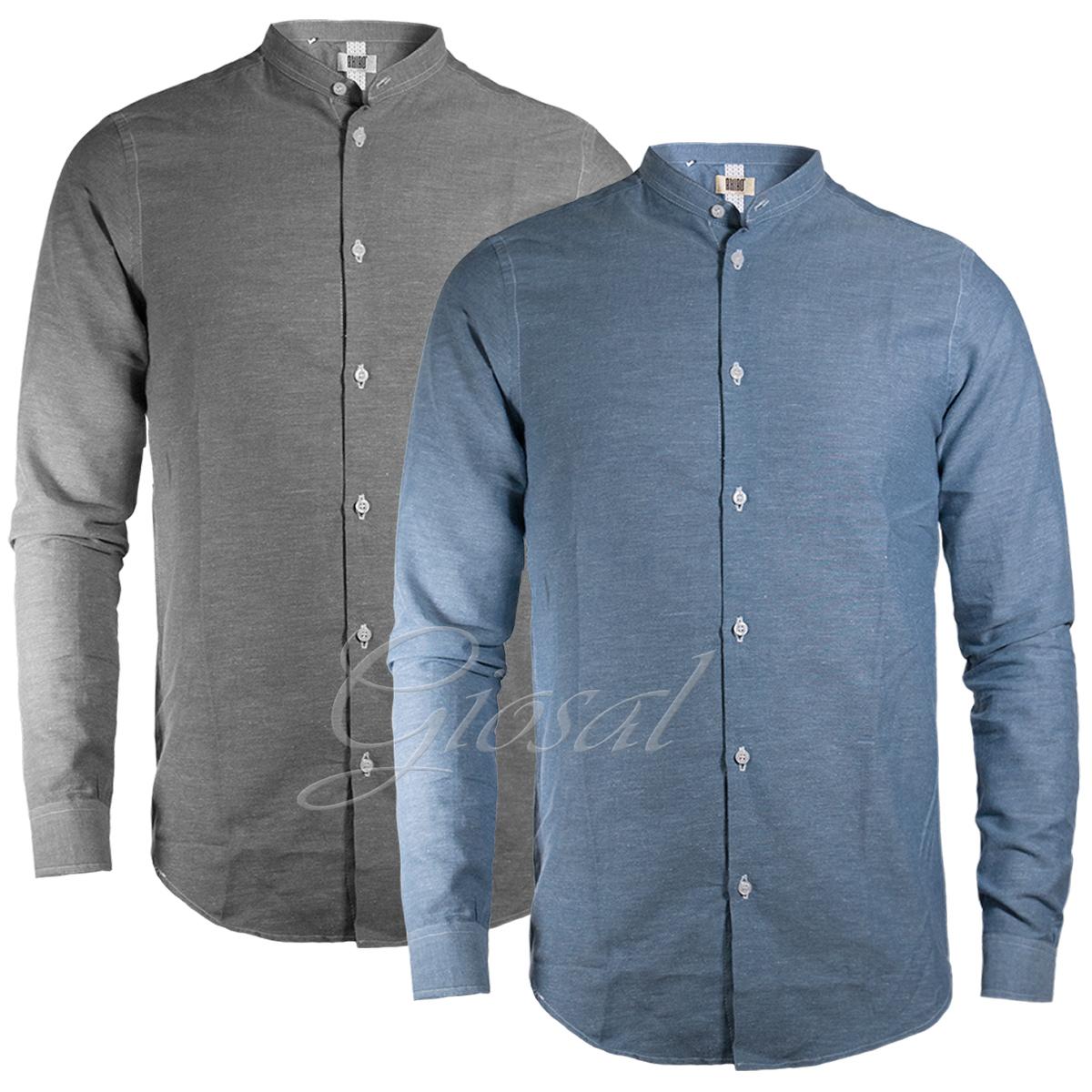 Latest Collection Of Camicia Uomo Akirò Lino Cotone Collo Coreano Due Colori Giosal Mild And Mellow Shirts