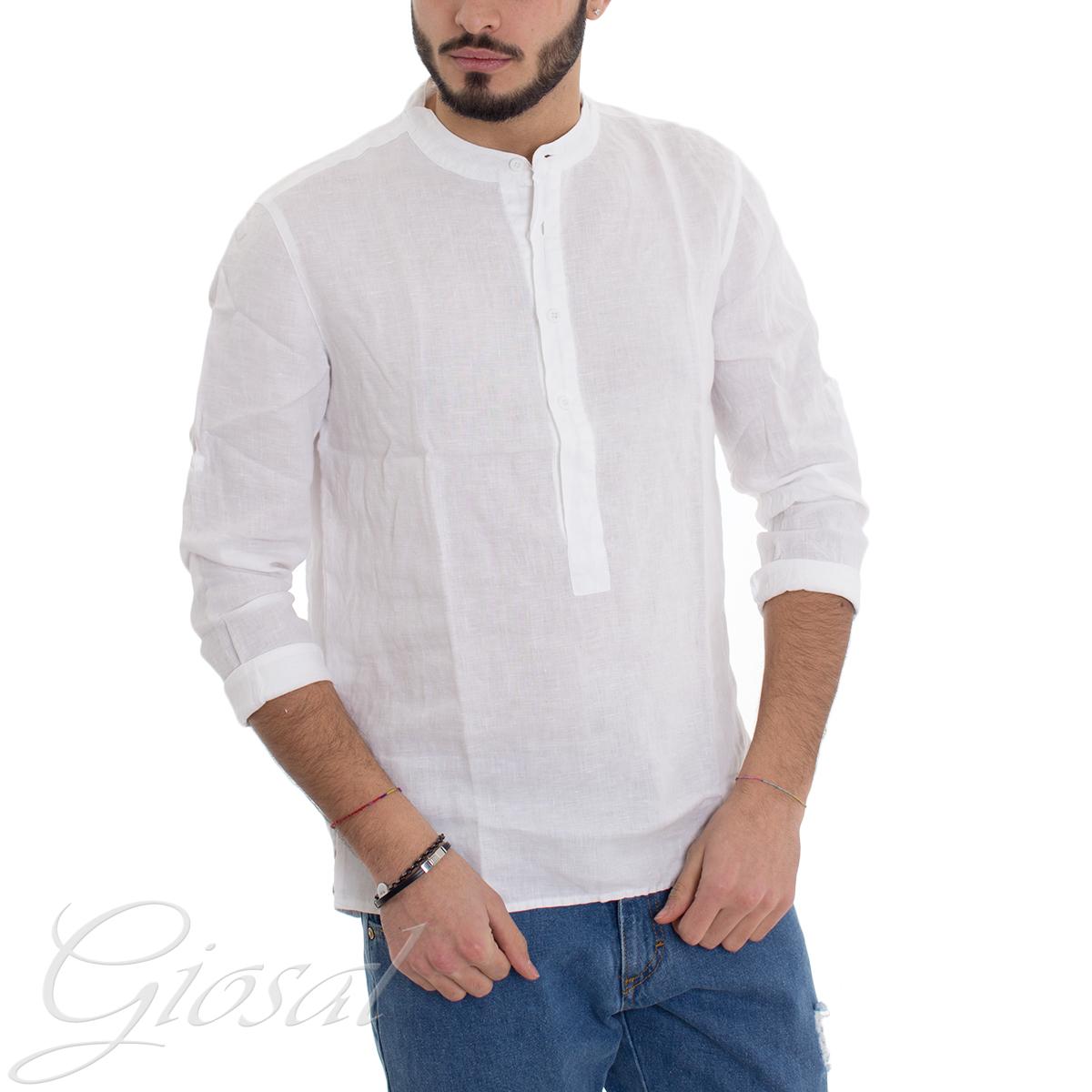 3f79ca867b Dettagli su Camicia Uomo Puro Lino Collo Coreano Serafino Tinta Unita  Bianca GIOSAL