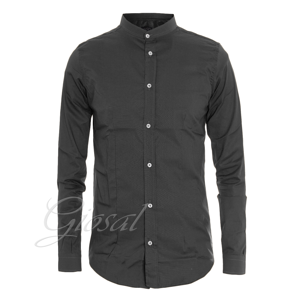 Camicia-Uomo-Akiro-Collo-Coreano-Tinta-Unita-Vari-Colori-Slim-GIOSAL