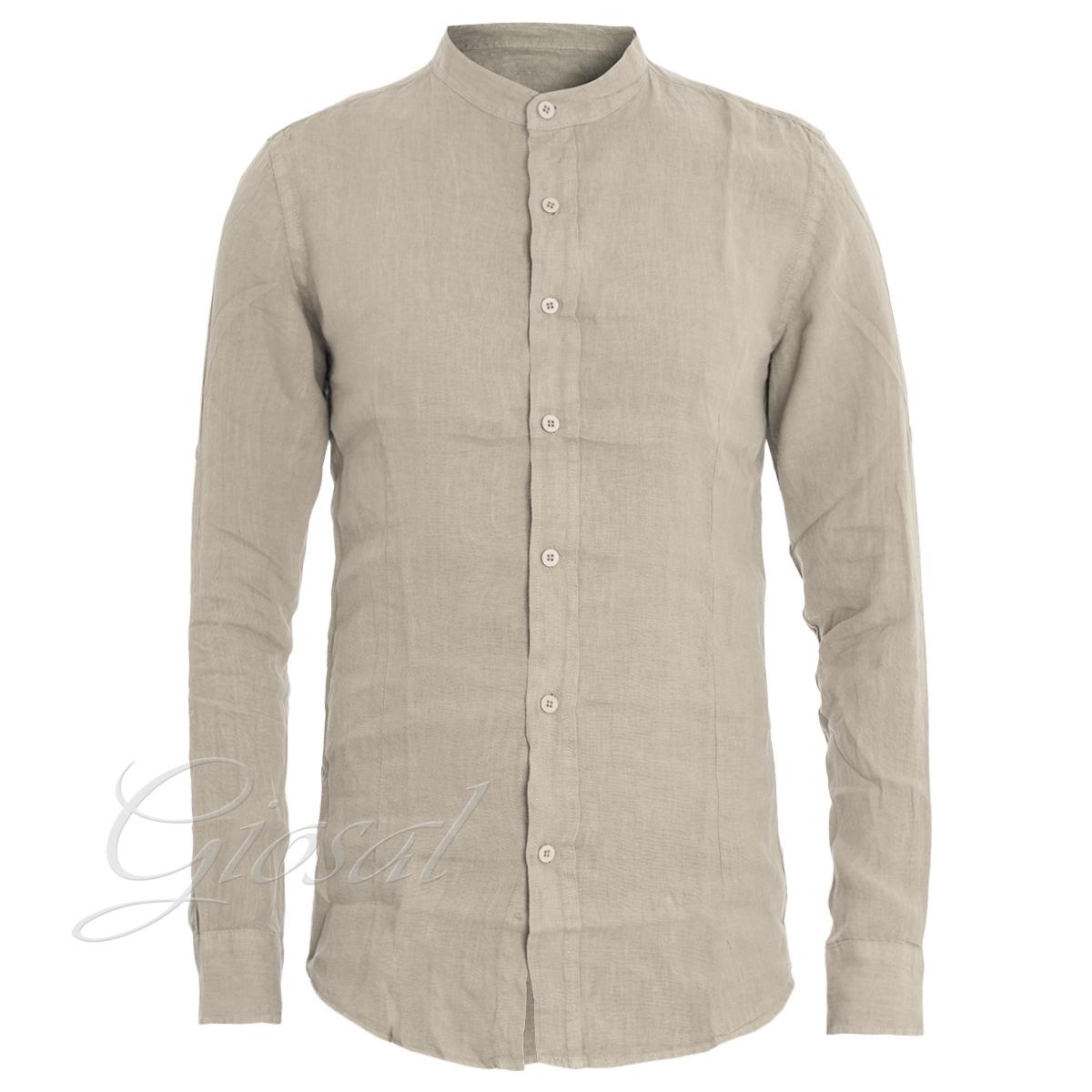 Camicia-Uomo-Lino-Vari-Colori-Tinta-Unita-Slim-Collo-Coreano-GIOSAL