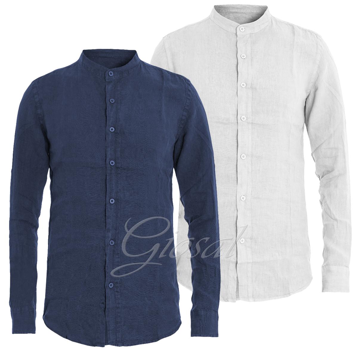 de74530b41 Dettagli su Camicia Uomo Lino Vari Colori Tinta Unita Slim Collo Coreano  GIOSAL