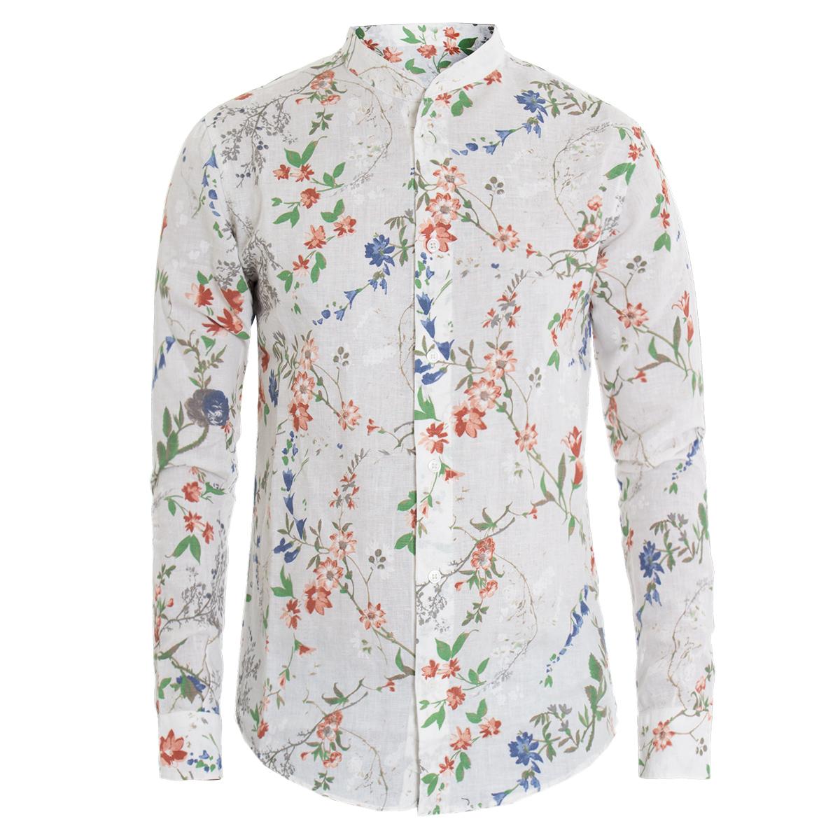Camicia-Uomo-Manica-Lunga-Fantasia-Floreale-Fiori-Collo-Coreano-Casual-Lino-G