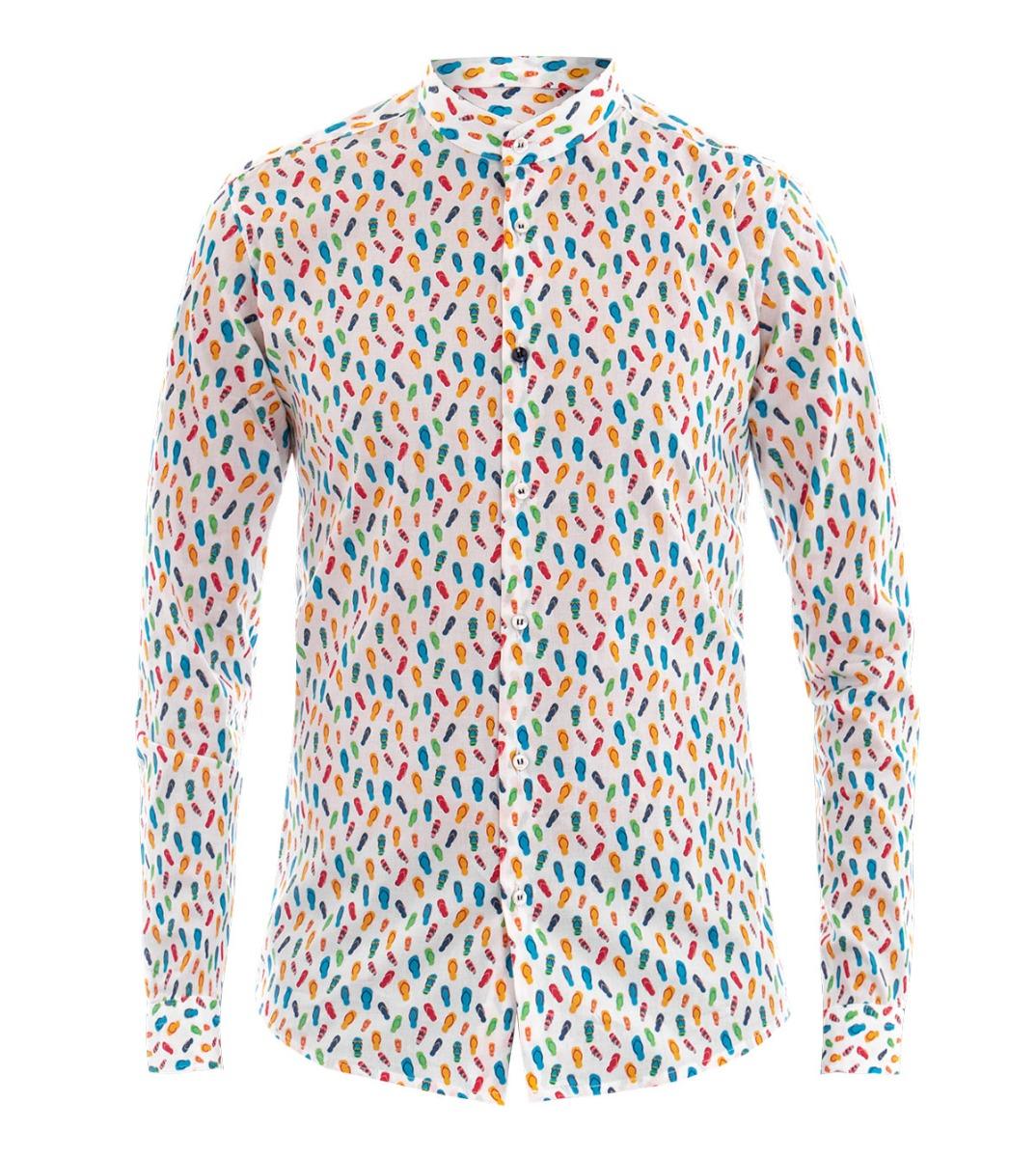 Dettagli su Camicia Uomo Collo Coreano Micro Fantasia Stampa Maniche Lunghe Colori GIOSAL