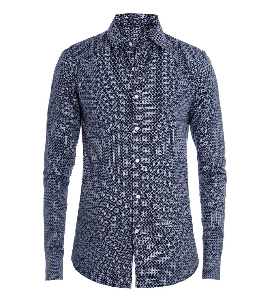 Camicia Uomo Classica Colletto Microfantasia Rombi Bianco Fondo Blu Elegante .. Removing Obstruction Clothing, Shoes & Accessories