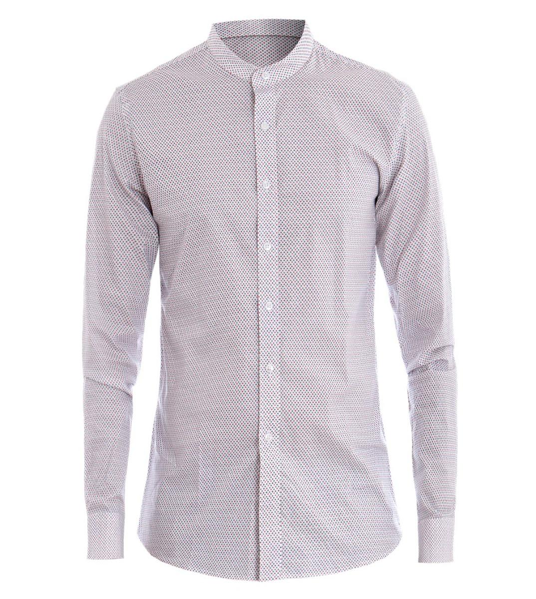 premium selection 58b2f 58ffd Dettagli su Camicia Uomo Collo Coreano Micro Fantasia Rombi Slim Fondo  Bianco GIOSAL