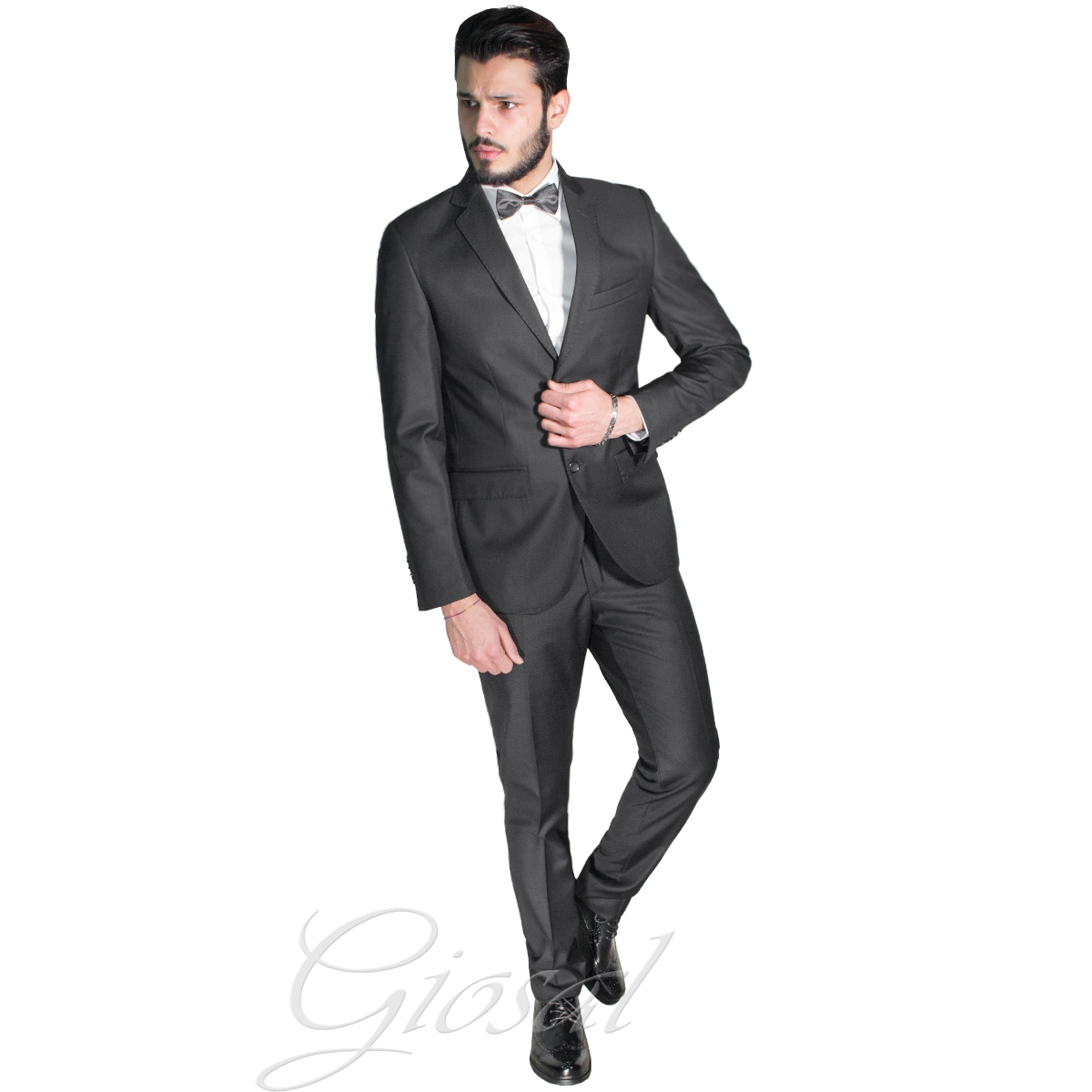 Vestiti Eleganti Uomo Grigio.Abito Elegante Uomo Vestito Grigio Scuro Classico Tasche Taschino