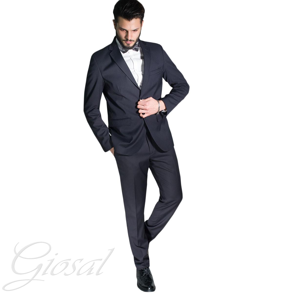 Vestiti Eleganti Uomo.Abito Elegante Uomo Vestito Smoking Papillon Tinta Unita Blu