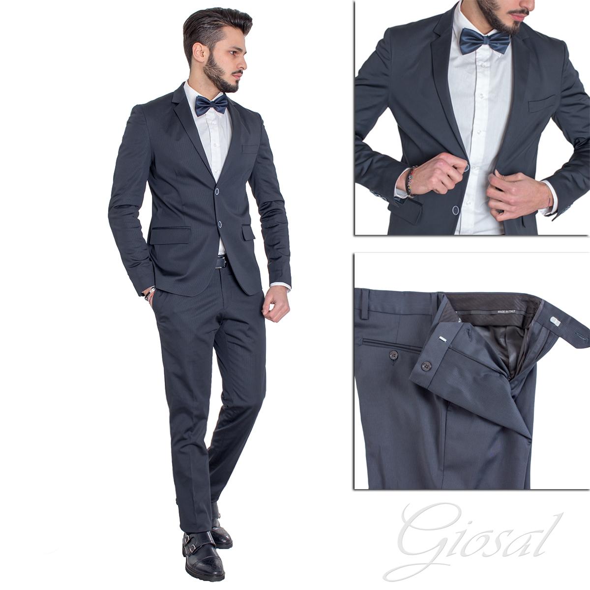 Abiti Eleganti Blu.Abito Elegante Uomo Vestito Giacca Pantalone Blu Tinta Unita Giosal
