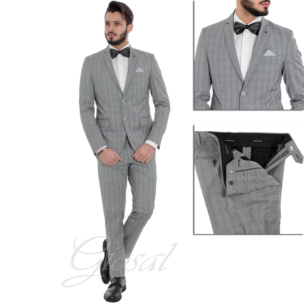 Vestiti Eleganti Uomo Grigio.Abito Elegante Uomo Grigio Scozzese Pochette Giacca Pantalone Slim