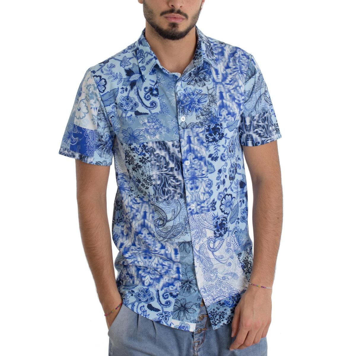 Presuntuoso marchio Poesia  Camicia Uomo Manica Corta Colletto Fantasia Floreale Azzurra Casual GIOSAL