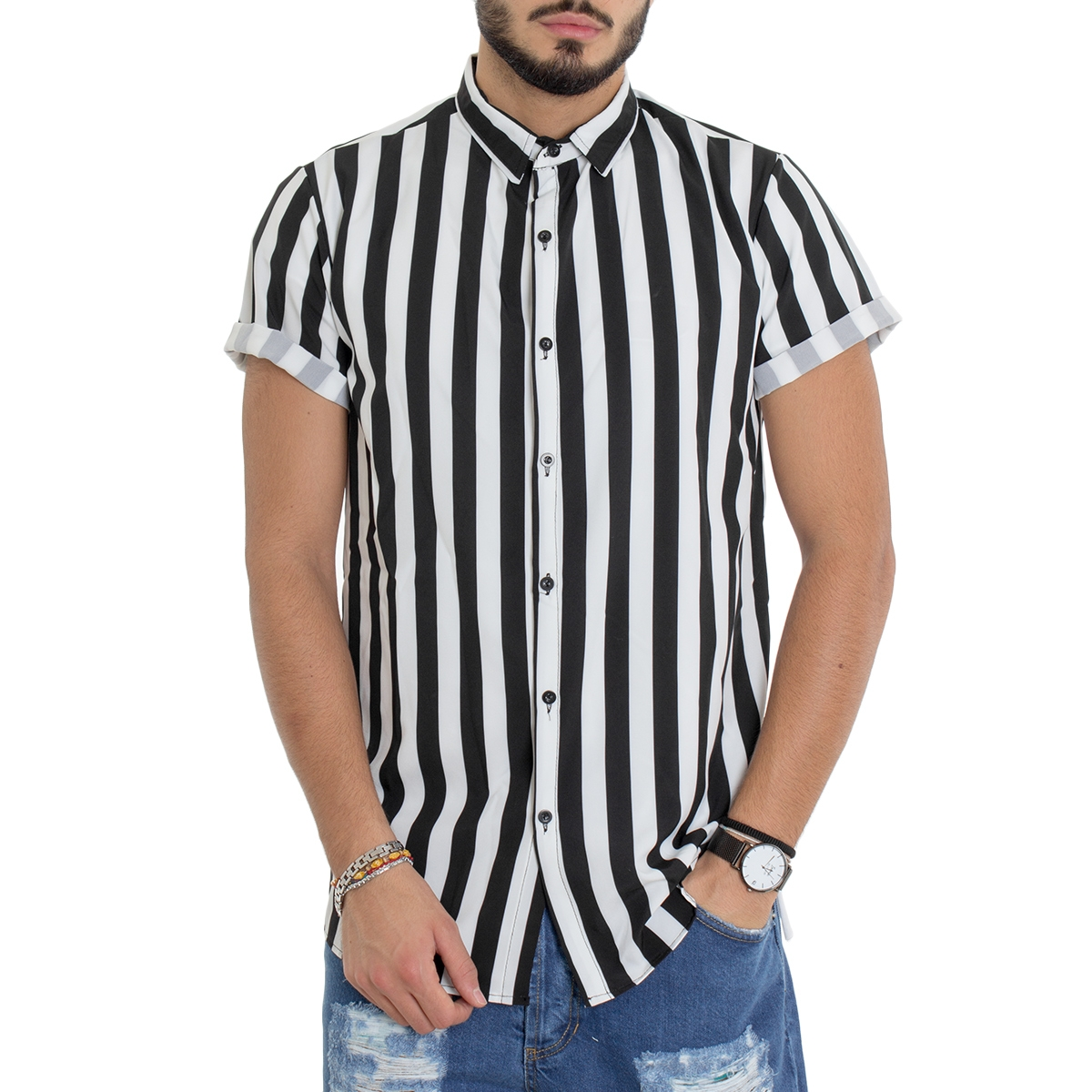 Gheri Camicia da uomo patchwork a righe