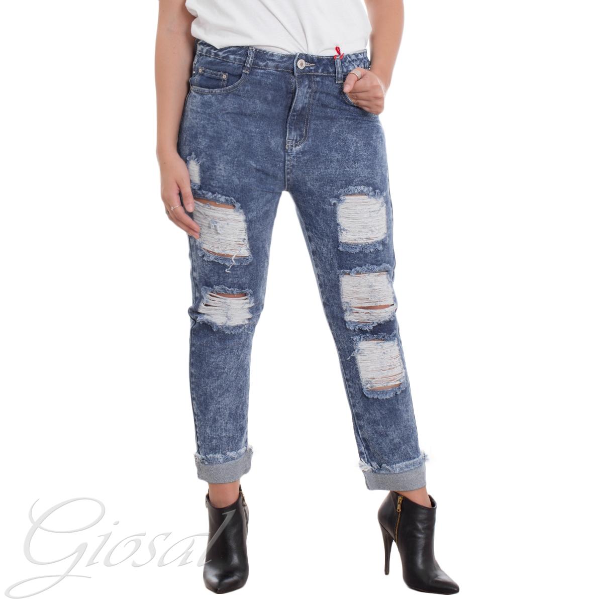 Anestetico corto Sito di previsione  Jeans Donna Denim Vita Alta Bottone Zip Rotture Risvolto Frange Abrasioni  Casual GIOSAL