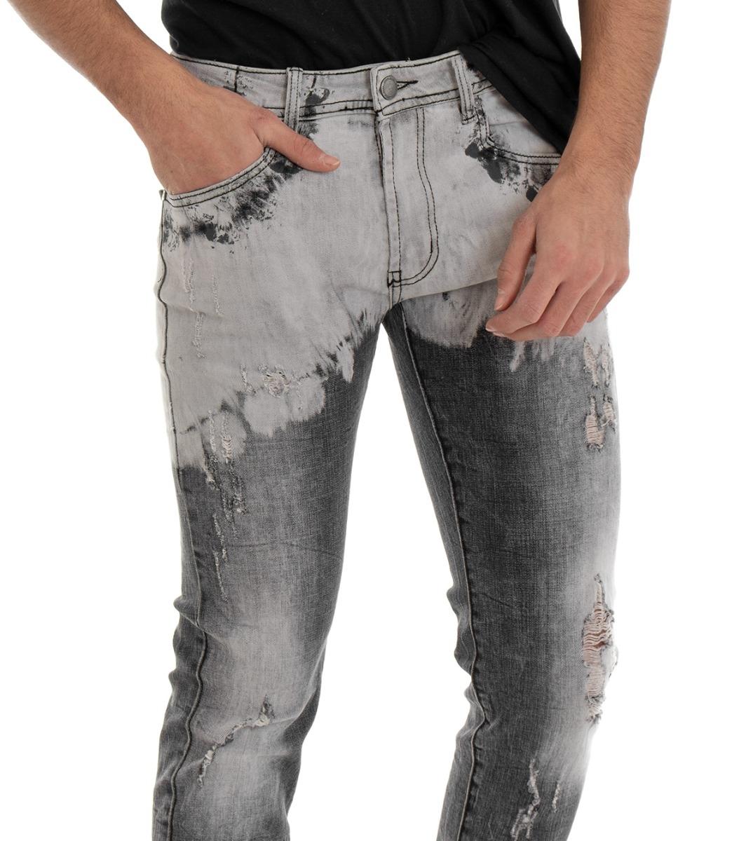 Crosshatch da Uomo 5 tasche-Jeans con Slavati-out-EFFETTI ALBERO wollmischung