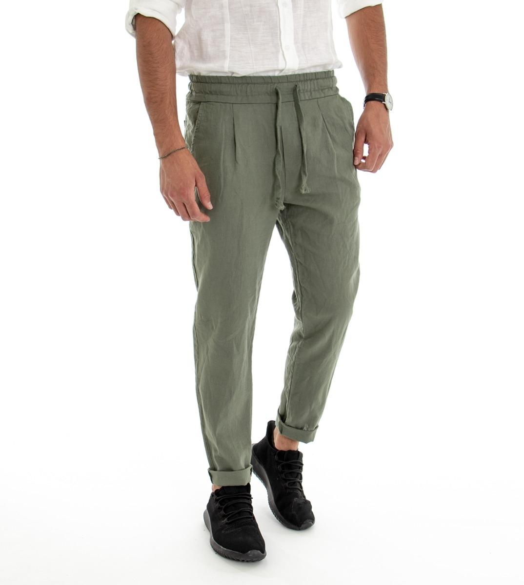 punch classico in corso  Pantalone Uomo Lungo Lino Cotone Elastico In Vita Tasche America Verde  Tinta Unita GIOSAL
