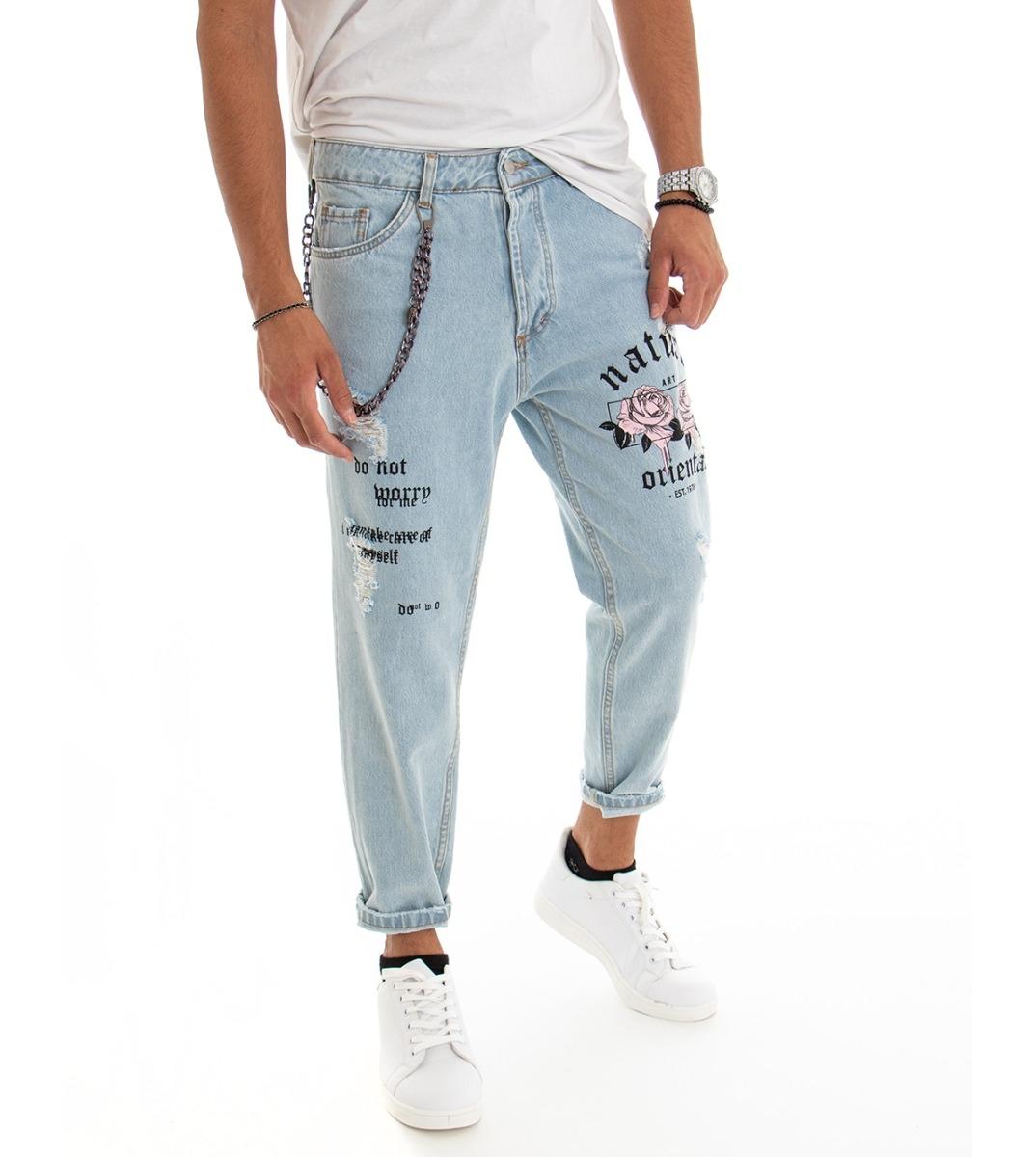 Pantalone Uomo Lungo Jeans Denim Chiaro Rotture Stampe Scritte Rosa Cavallo Basso GIOSAL