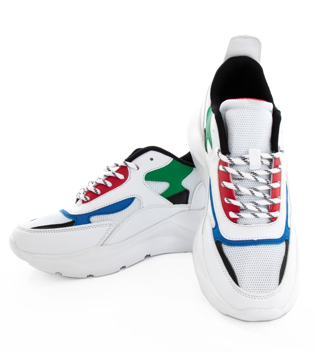 Scarpe Uomo Sneakers Sportive Bianche Multicolore Con Lacci Calzature Casual GIOSAL