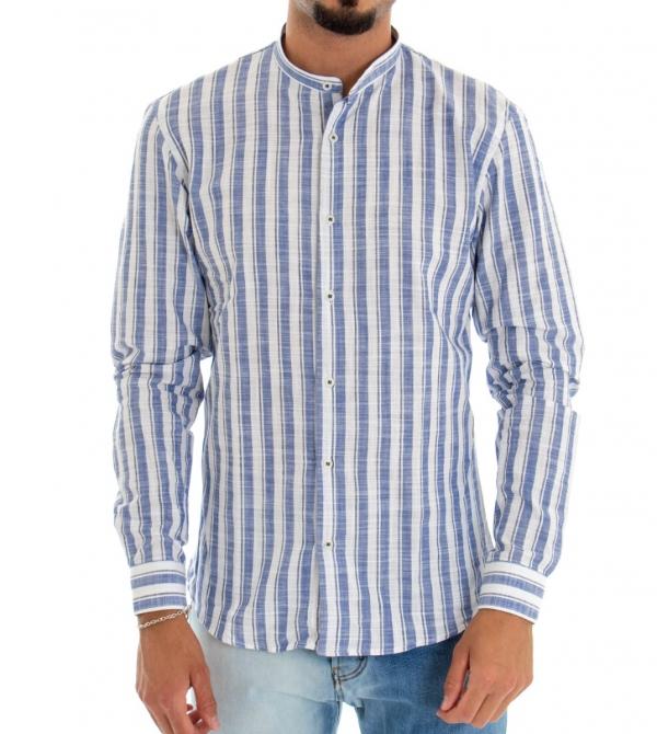 Camicia Uomo Collo Coreano Righe Blu Bianca Rigato Manica Lunga GIOSAL