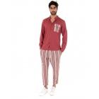 Completo Uomo Outfit Rosso Camicia Viscosa Taschino Pantalone Rigato Cotone GIOSAL