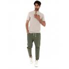 Completo Uomo Outfit T-Shirt Sfrangiata Beige Pantalone Elastico Verde Casual GIOSAL