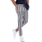 Pantalone Lino Uomo Rigato Lungo Blu Bianco Tasca America GIOSAL
