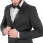 Completo Uomo Abito Elegante Tinta Unita Nero Giacca Pantaloni Slim GIOSAL