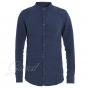 Outfit Uomo Completo Lino Camicia Collo Coreano Blu Pantalone Rigato Elastico Coulisse GIOSAL