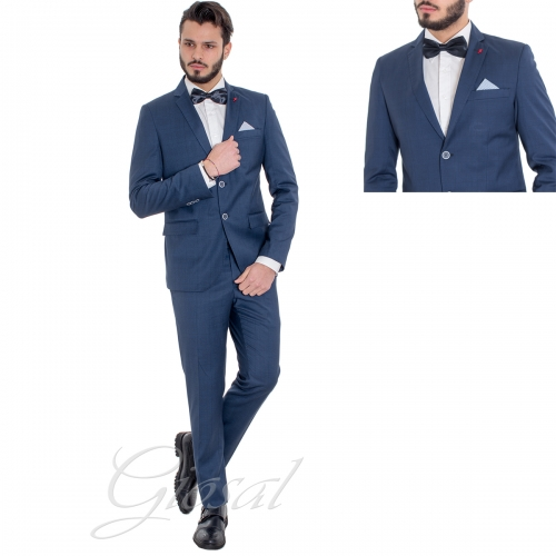 Abito Uomo Elegante Completo Blu Royal Quadretti Scozzese Slim Giacca Pantaloni GIOSAL