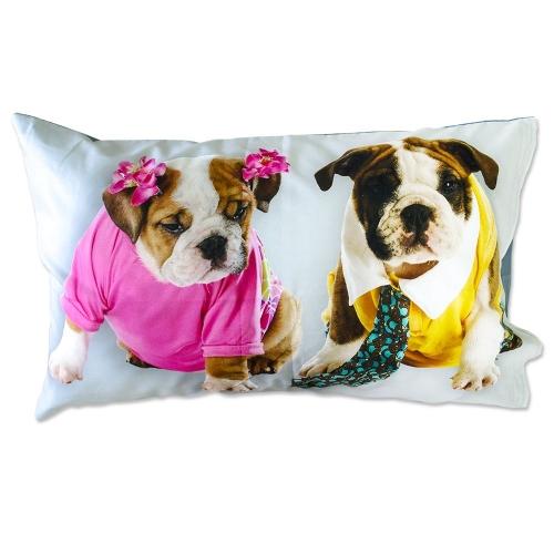 Coppia Federe Per Guanciale Bull Dog I Love Sleeping Stampa Digitale 3D Cotone GIOSAL