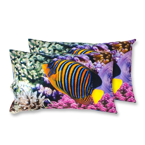 Coppia Federe Per Guanciale Coral Barriera Corallina I Love Sleeping Stampa Digitale 3D Cotone GIOSAL