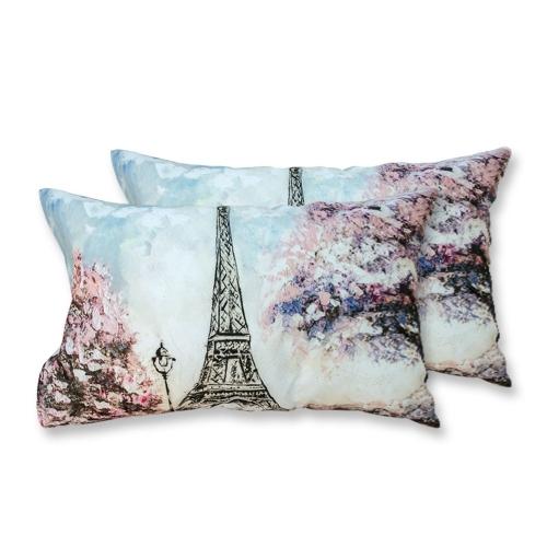 Coppia Federe Per Guanciale Pink Paris Tour Eiffel I Love Sleeping Stampa Digitale 3D Cotone GIOSAL