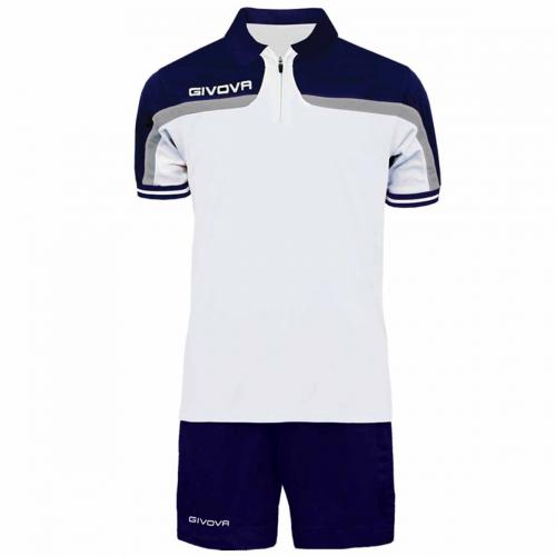 Completo Tuta Givova Kit Fast Polo Pantaloncini Blu Bianco Bicolore Completino Free Time GIOSAL