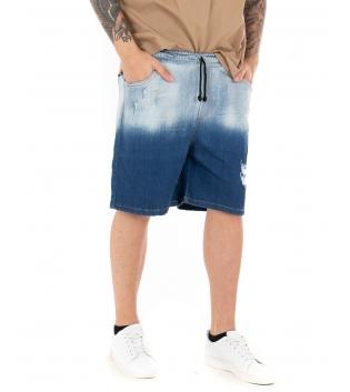 Bermuda Uomo Jeans Elastico Stone Washed Tasca America GIOSAL