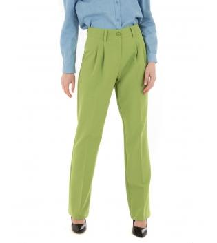 Pantalone Donna Eiki Verde Pinces Palazzo Tinta Unita Chic GIOSAL