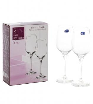 Set 2 Calici Vino Bianco Fiano 35cl Vetro Trasparente Calice Bohemia Crystal Due Pezzi GIOSAL