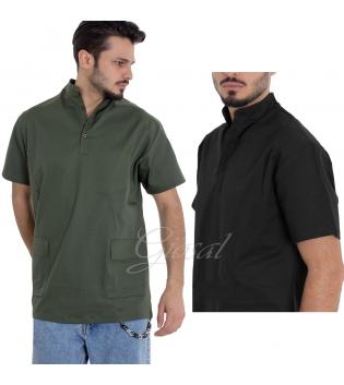 Camicia Uomo Manica Corto Collo Coreano Tinta Unita Vari Colori Tasche GIOSAL