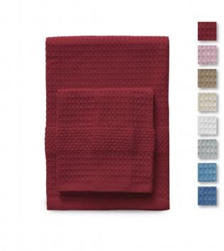 Set Asciugamani 1+1 Nido D'ape Tinta Unita Vari Colori Golf Gabel Cotone GIOSAL