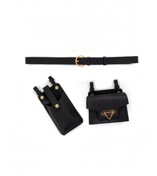 Cintura Donna Marsupio Portacellulare Tinta Unita Nero Oro Accessori GIOSAL
